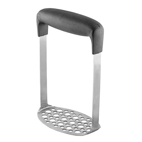 CWeep Masher Stainless Steel Potato Masher with Broad and Ergonomic Horizontal Handle - Fine-Grid Mashing Plate for Smooth Mashed Potatoes, Vegetables and Fruits -