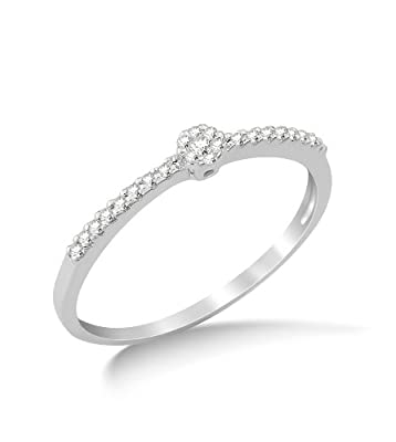 Miore 9ct White Gold Diamond Solitaire Look Engagement Ring MG9118R