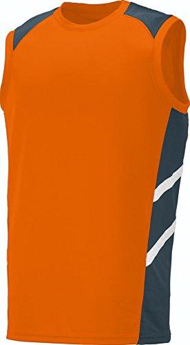 Augusta Sportswear Men'S Oblique Sleeveless Jersey S Power Orange/Slate/White (Sleeveless Jersey Augusta)