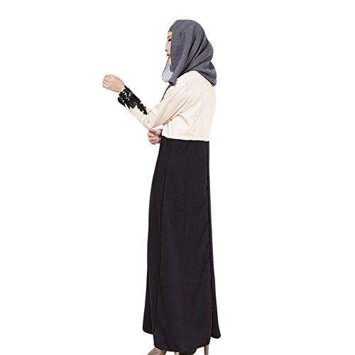 Meijunter Musulman Femme Kaftan Islamic Manche longue Arab Abaya Turkish Maxi Robe Black