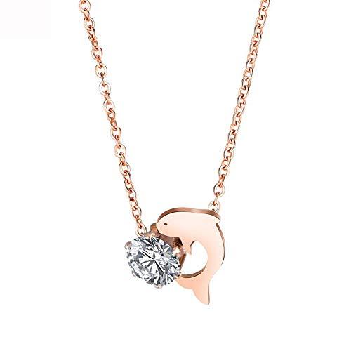 Ningz0l Halskette Für Frauen, Silberkette, Einfache Titan Stahl Rose Gold Dolphin Geometrische Anhänger Schlüsselbein Kette Weiblichen Schmuck Geschenk