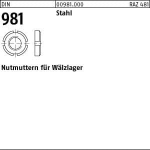 Nutmuttern für Wälzlager DIN 981 14 H Stahl blank