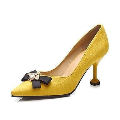 Wuyulunbi @ Women's Shoes Printemps Automne Base De La Pompe Talons Hauts Bowknot À Office & Carrière Robe Jaune Noir Jaune