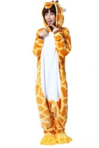 Tieroutfit Halloween Giraffe Kostüm Kigurumi Schlafanzug Erwachsene Japanische Tier Pyjama Onesie tierkostüme gelb (M(für Höhe (Japanische Erwachsene Kostüme Für)