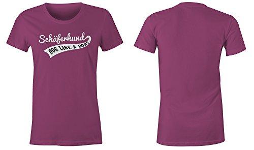 Schaeferhund Dog Like A Boss ★ Rundhals-T-Shirt Frauen-Damen ★ hochwertig bedruckt mit lustigem Spruch ★ Die perfekte Geschenk-Idee (07) pink