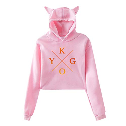 Junioren Long Sleeve Thermal (Kygo gedruckte Mädchen Hipster Cat Ear Hoodie Sweater Trendy Pink Sweatshirt Hoodies)