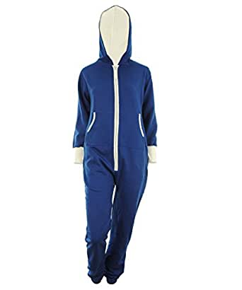 blau L - Darlene der Unisex Overall Reißverschluss Jumpsuit mit Kapuze