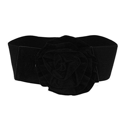 Señoras negro Velvet flor Accent elástica tela Cinch cinturón negro negro Talla única