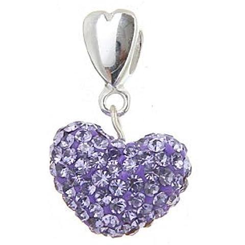 De corazón de peluche cuenta para pulsera - pavimentadas con cristales de color morado con corazón Anillo - 925. Broche de plata de ley Nuevo - Compatible con joyas Pandora tipo de