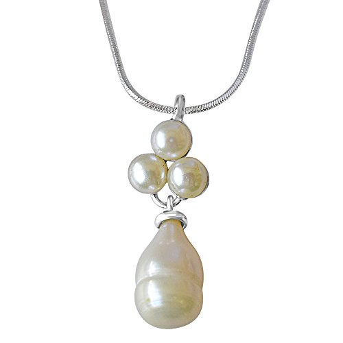 "Surat Diamonds Pearl Garden Sterling Silver Pendant with 18"" Chain for Women (SDS233)"