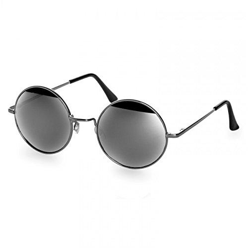 CASPAR SG038 große runde Retro Lennon Sonnenbrille/Rundbrille / Hippi Brille/Nickelbrille - Übergröße, Farbe:silber/silber verspiegelt