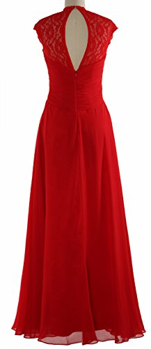 MACloth Women Cap Sleeve Lace Long Prom Dress Chiffon Wedding Party Formal Gown Silber