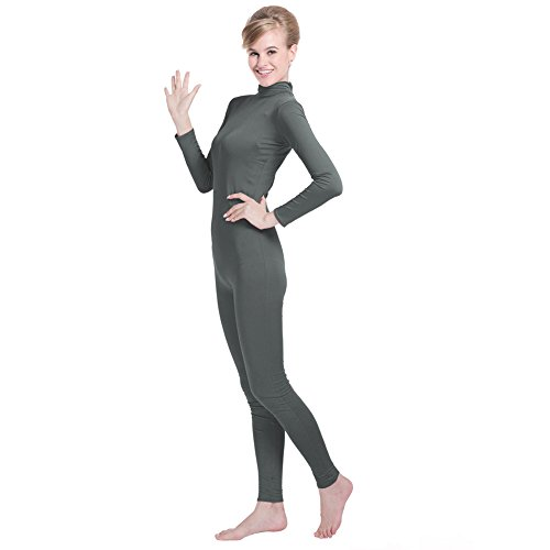 Unisex Lycra Spandex Unitard Mock Neck Long Sleeves Footless Elastane Bodysuit Costume