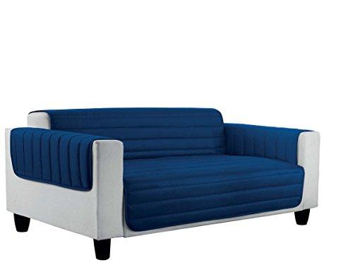 Italian bed linen elegant copri divano trapuntato in microfibra anallergica, doubleface, blu scuro/grigio chiaro, 3 posti