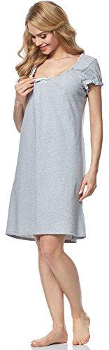 Italian Fashion IF Damen Stillnachthemd M002 Melange/Pistazie