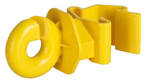 AKO 25x T-Pfosten Ringisolator, Clip Isolator für T-Post, gelb - Verbessertes Clip System - Einfaches Anklippen am T-Post - Für WeidezaunSeil, Litze und Band bis 10mm - UV beständiger Kunststoff
