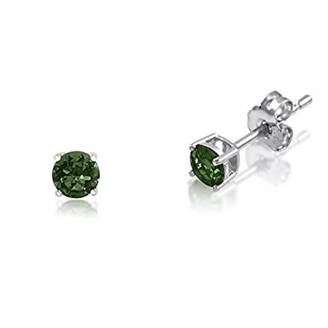 Kezef Sterling Silver .925 Basket Set Stud Earrings with Round 3mm Genuine Chrome Diopside
