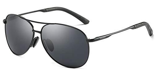 WHCREAT Klassisch Unisex Polarisierte Sonnenbrille mit Ultraleicht Verstellbaren Metallrahmen HD-Linse für Herren und Damen - Schwarz Rahmen Schwarz Linse