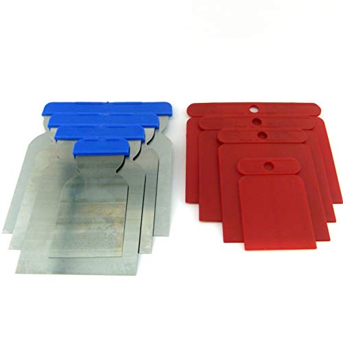 8tlg Set Japanspachtel im Bundle aus 4er Set Flächenspachtel mit Stahlblatt Säurefest + 4er Set Kunststoff-Japanspachtel fexibel Qualitätswerkzeug für Profis Made in Germany