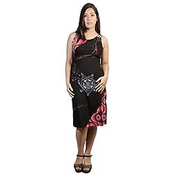 Vestido Negro de Tirantes con Detalles Mandala Impresos