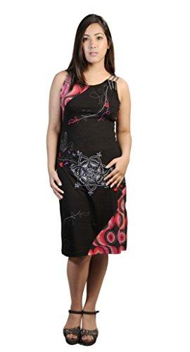 Frauen Ärmelloses Kleid mit Stickerei und Bunte Kreis Muster drucken Deisgn… (Ärmelloses Kreis)
