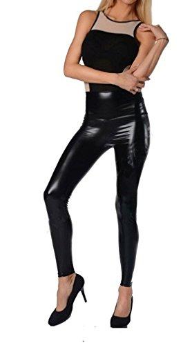 Dykmod Damen Glanz Leggins Leggings Wet-Look 36 38 40 42 44 46, Schwarz-glalnzend, 36
