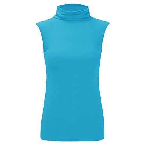 Damen New Celeb Polo Rollkragen Ärmellos Damen Basics Sommer Shirt Top 8-26 Turquoise - Sleeveless Casualwear Polo Top