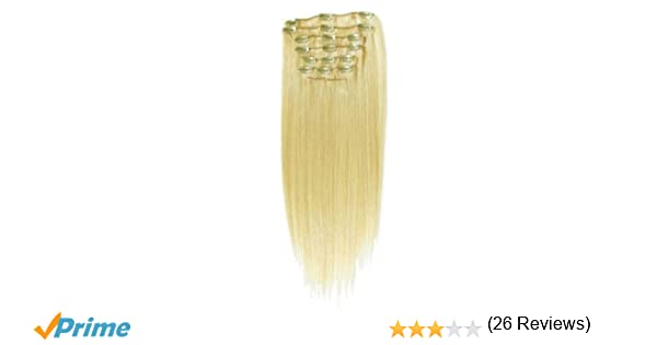 22 inch bleach blonde col 613 full head clip in human hair full head clip in human hair extensions high quality remy hair amazon beauty pmusecretfo Gallery
