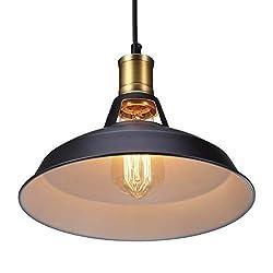 Vintage Metal Industrial Pendant Lamps S&G Retro Ceiling Lamp Edison Bulb Cafe Pendant Lighting Kitchen Restaurant Fixture Drop Light, Black