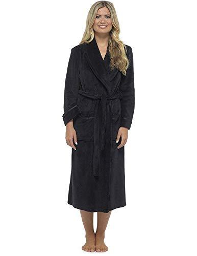 CityComfort Vestido de Lujo de Las señoras Traje súper Suave con Forro de Piel Albornoz Felpa Albornoz para Mujeres (L, Negro)