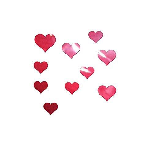 Preisvergleich Produktbild TianranRT 10PCS Wandbild Aufkleber 3D Spiegel Wand Aufkleber Liebe Herz Abnehmbar Aufkleber RD (Rot)