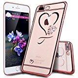 e 8 Plus Hülle,iPhone 7 Plus Hülle,Glänzend Glitzer Strass Diamant Überzug TPU Silikon Crystal Durchsichtig Hülle Tasche Case Cover Handyhülle Klar Schutzhülle,Rosegold Herz liebe ()