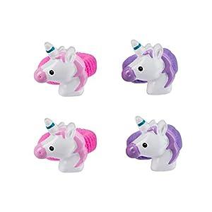 SIX Kids 4er Set Haargummis: Zopfgummis für Mädchen, Einhorn-Motiv in rosa und lila, Kinderfrisuren mit Fantasie, Geschenkidee (299-274)