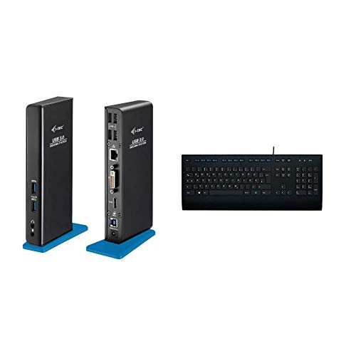 i-tec USB 3.0 Dual Docking Station HDMI DVI 2x Full HD+ 2048x1152, Für Notebook Ultrabook Tablet ab WIN 8.0 & Logitech K280e Tastatur (Kabelgebunden, QWERTZ, Deutsche Layout) schwarz