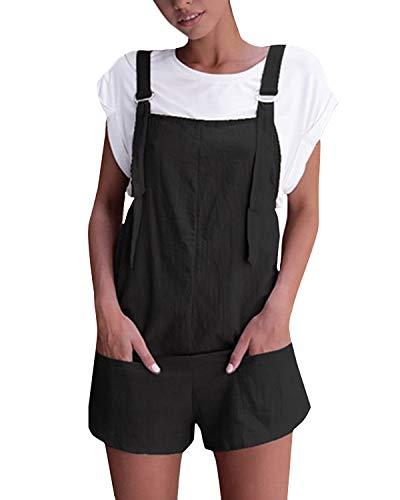 VONDA Damen Latzhose Retro Shorts Lässig Übergröße Jumpsuit Baggy Sommerhose Mit Tasche Schwarz 2XL