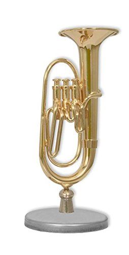 Dakota Mini Tuba aus Metall Musikinstrument Dekoration mit Ständer und Box: Tuba. Replik. 8cm. Gold 1Stück