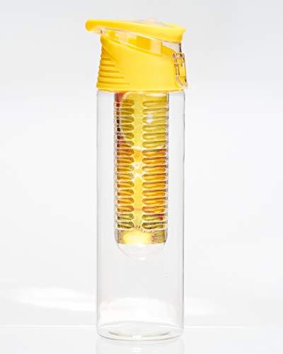 lasche mit Fruchteinsatz - Wasserflasche Fruit Infuser BPA-Frei 700ml & Auslaufsicher - optimale Erfrischung beim Sport und im Alltag (Gelb) ()