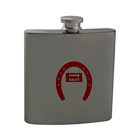 The image of a signboard with the word next in a horseshoe . I used OCAL clipart called Fer A Cheval uploaded by jdaniel . Thanks. 6oz Stainless steel hip flask
