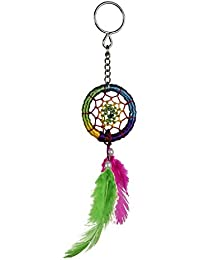 ILU Dream Catcher Hand Made Key Ring & Key Chain For Car, Bike, Home, Cupboard, Bags (Multicolor)