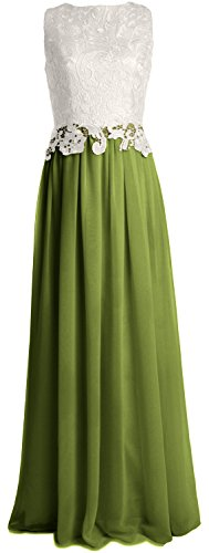 MACloth Women Lace Chiffon Long Prom Dress Wedding Party Bridesmaid Formal Gown Olive Green