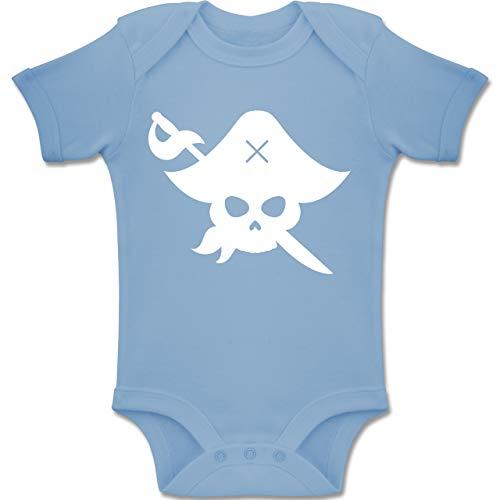 Shirtracer Karneval und Fasching Baby - Pirat Kostüm Fasching - 3-6 Monate - Babyblau - BZ10 - Baby Body Kurzarm Jungen Mädchen (Schädel Piraten Mädchen Kostüm)