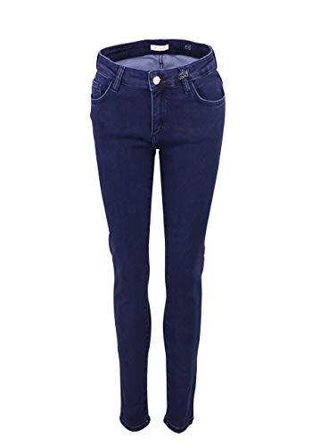 RICH&ROYAL Straight Jeans Midi 5 Pocket Logo-Brosche Navy Größe W29 L32 Pocket Mode Jean