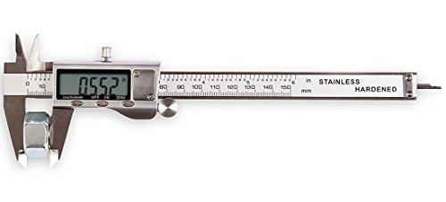 LOUISWARE 150mm / 6-Zoll Hochpräzise Wassergeschützter Messschieber mit Display Edelstahl Wasserdichte Schieblehre für Abständen und Durchmesser, Edelstahl Elektronische Digital Noniusschieber Mikrometer Test