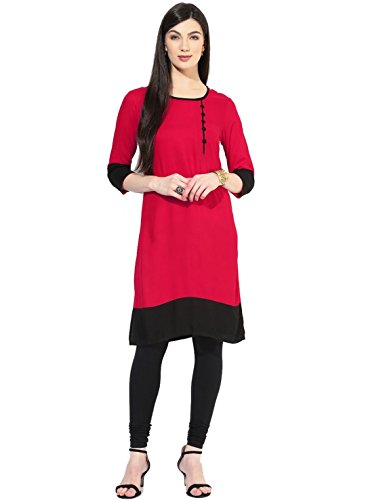 Kurta (Vipul Women's Branded Pink & Black Casual Wear Cotton Free Size Kurti (Best Gift For Mummy Mom Wife Girl Friend, Offers and Sale Discount) )  available at amazon for Rs.97