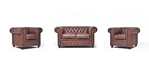 Original Chesterfield Sofa und Sessel – 1 / 1 / 2 Sitzer – Vollständig Handgewaschenes Leder – Vintage Braun