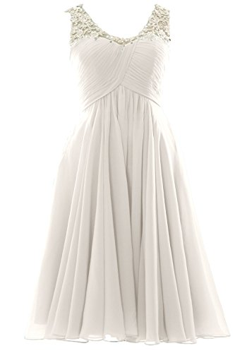 MACloth Gorgeous V Neck Short Prom Homecoming Dress Wedding Party Formal Gown Ivoire
