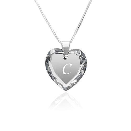 """Kette 925 Silber, SWAROVSKI ELEMENTS Herzanhänger Farbe Crystal Silber Buchstabengravur\"""" C\"""", Herzkette als Geschenk für die Frau, Freundin oder zum Valentinstag"""