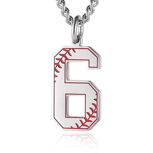 Haoda Baseball Initial Anhänger Halskette Inspiration Baseball Jersey Zahl 0-9 Charms Edelstahl Halskette (Jersey Baseball Geburtstag)
