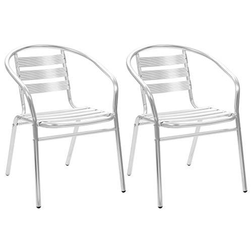 Festnight 3-TLG. Bistroset | Balkon-Set mit Quadratisch Tisch | Alu Terassen Set | Aluminium Balkongarnitur | Gartenmöbel Set | Silbern Aluminium