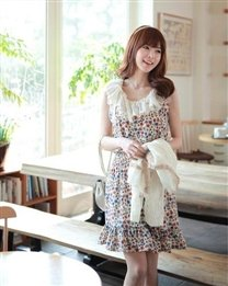 Lace Round Collar Floral Women Dress